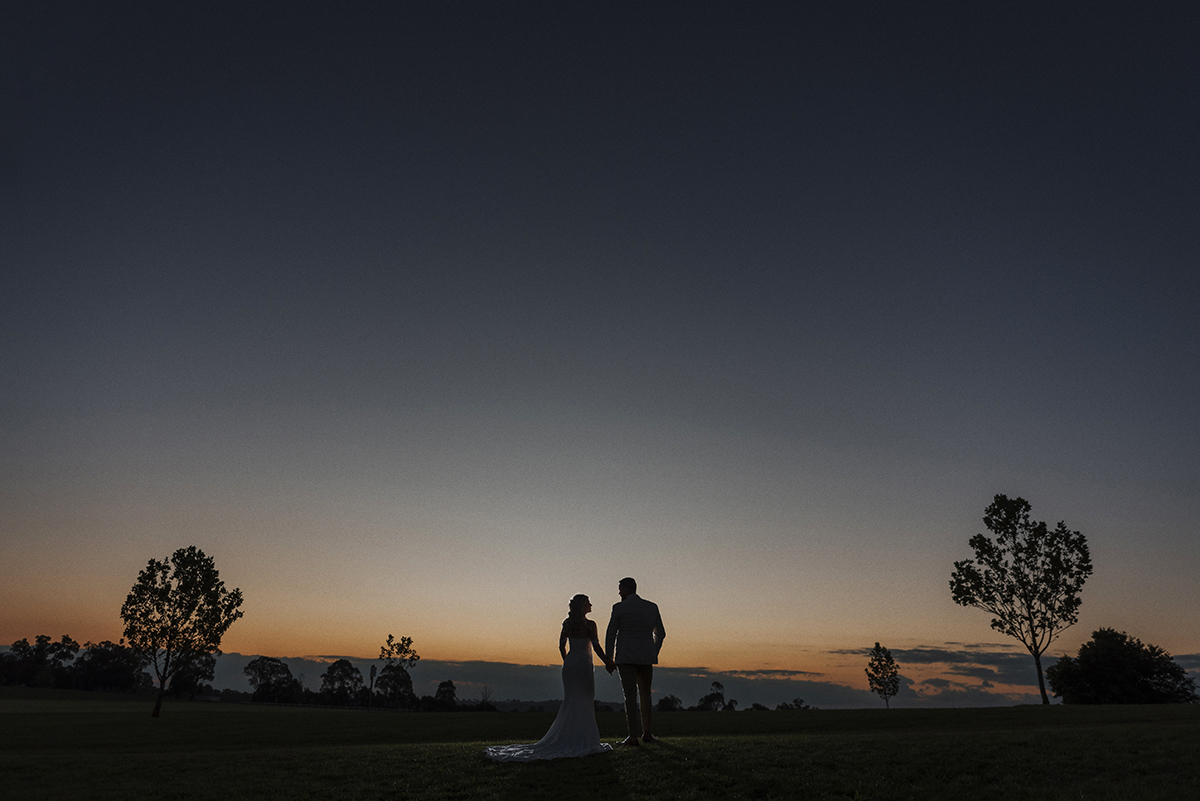 sunset bride & groom country